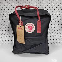 Рюкзак Fjallraven Kanken Classic. Цвет черный с бордовом ремешком отличный рюкзак для повседневных прогулок