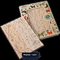 Детская мозаика Медведь-карта - средняя (размер A5) с карандашами 6шт. (из кедра)