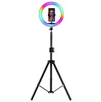 Кольцевая цветная RGB лампа 26 см штатив 210 см 10 цветов