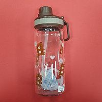 Бутылочка с трубочкой мишки (коричневая)