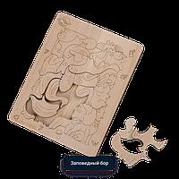 Детская мозаика Заповедный бор - средняя (размер A4) с карандашами 6шт. (из кедра)