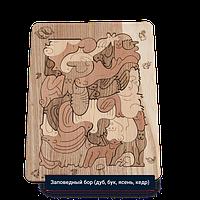 Детская мозаика Заповедный бор - средняя (размер A4) с карандашами 6шт. (дуб, бук, ясень, кедр)
