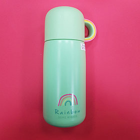 Термос с радугой-чашкой (зелёный)