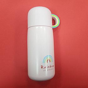 Термос с радугой-чашкой (розовый)