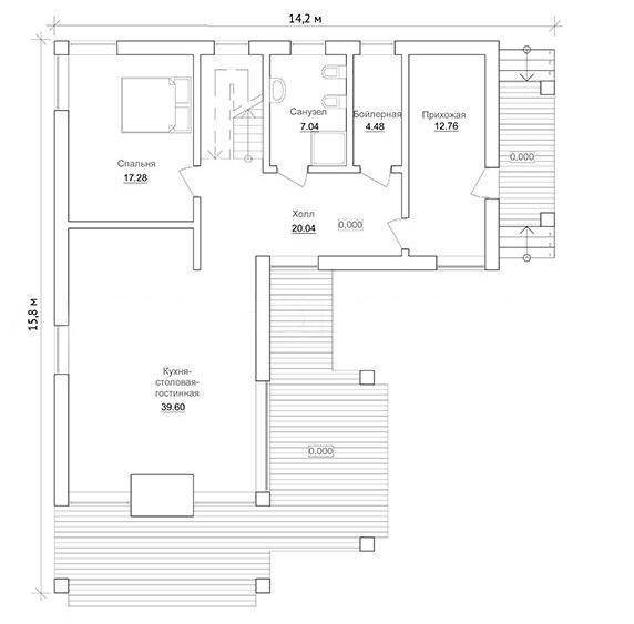 Проект финского двухэтажного дома из профилированного бруса, план двухэтажного дома и строительство под ключ, проектирование и строительство деревянных домов.