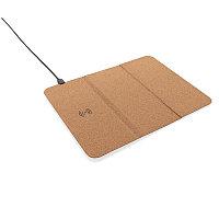 Коврик для мыши с функцией беспроводной зарядки и подставки для телефона, 5 Вт, коричневый, Длина 8,7 см.,