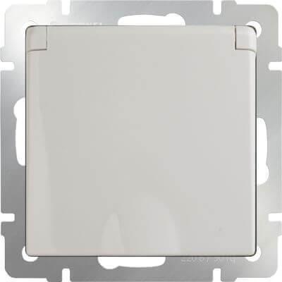 Розетка Werkel с заземлением с защитной крышкой и шторками WL03-SKGSC-01-IP44-ivory 4690389046247