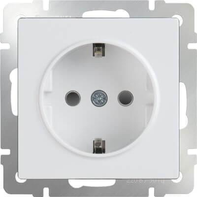 Розетка Werkel с заземлением и шторками белая WL01-SKGS-01-IP44 4690389047145