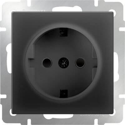 Розетка Werkel с заземлением и шторками черный матовый WL08-SKGS-01-IP44 4690389054228