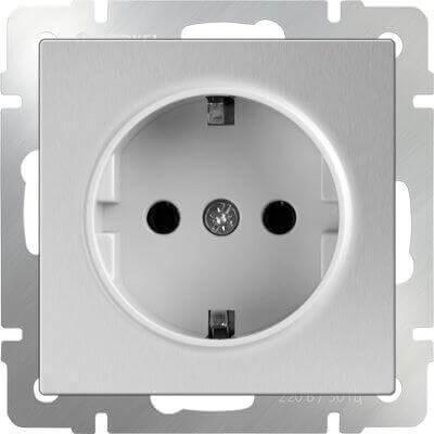 Розетка Werkel с заземлением серебряный WL06-SKG-01-IP20 4690389053894