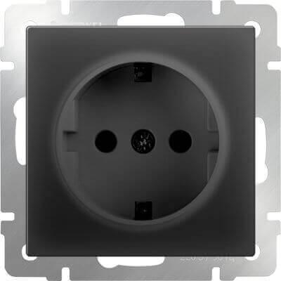Розетка Werkel с заземлением черный матовый WL08-SKG-01-IP20 4690389054211