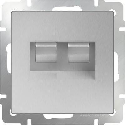 Розетка Werkel телефонная RJ-11 и Ethernet RJ-45 серебряный WL06-RJ11+RJ45 4690389053948