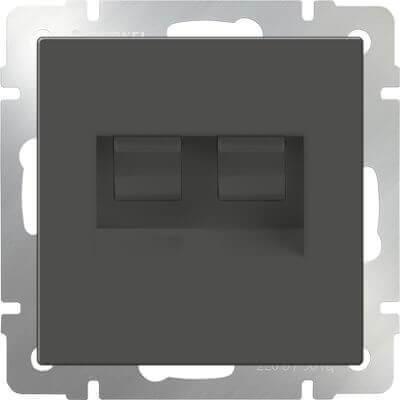 Розетка Werkel телефонная RJ-11 и Ethernet RJ-45 серо-коричневая WL07-RJ11+RJ45 4690389054105