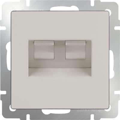 Розетка Werkel телефонная RJ-11 и Ethernet RJ-45 слоновая кость WL03-RJ11-45-ivory 4690389046278