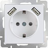 Розетка Werkel с заземлением, USBx2 белая WL01-SKGS-USBx2-IP20 4690389073199