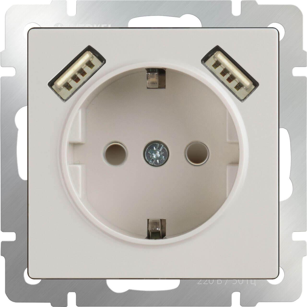 Розетка Werkel с заземлением, шторками и USBx2 слоновая кость WL03-SKGS-USBx2-IP20 4690389073205