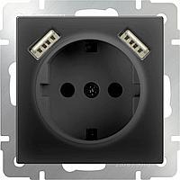 Розетка Werkel с заземлением, шторками и USBx2 черный матовый WL08-SKGS-USBx2-IP20 4690389073236