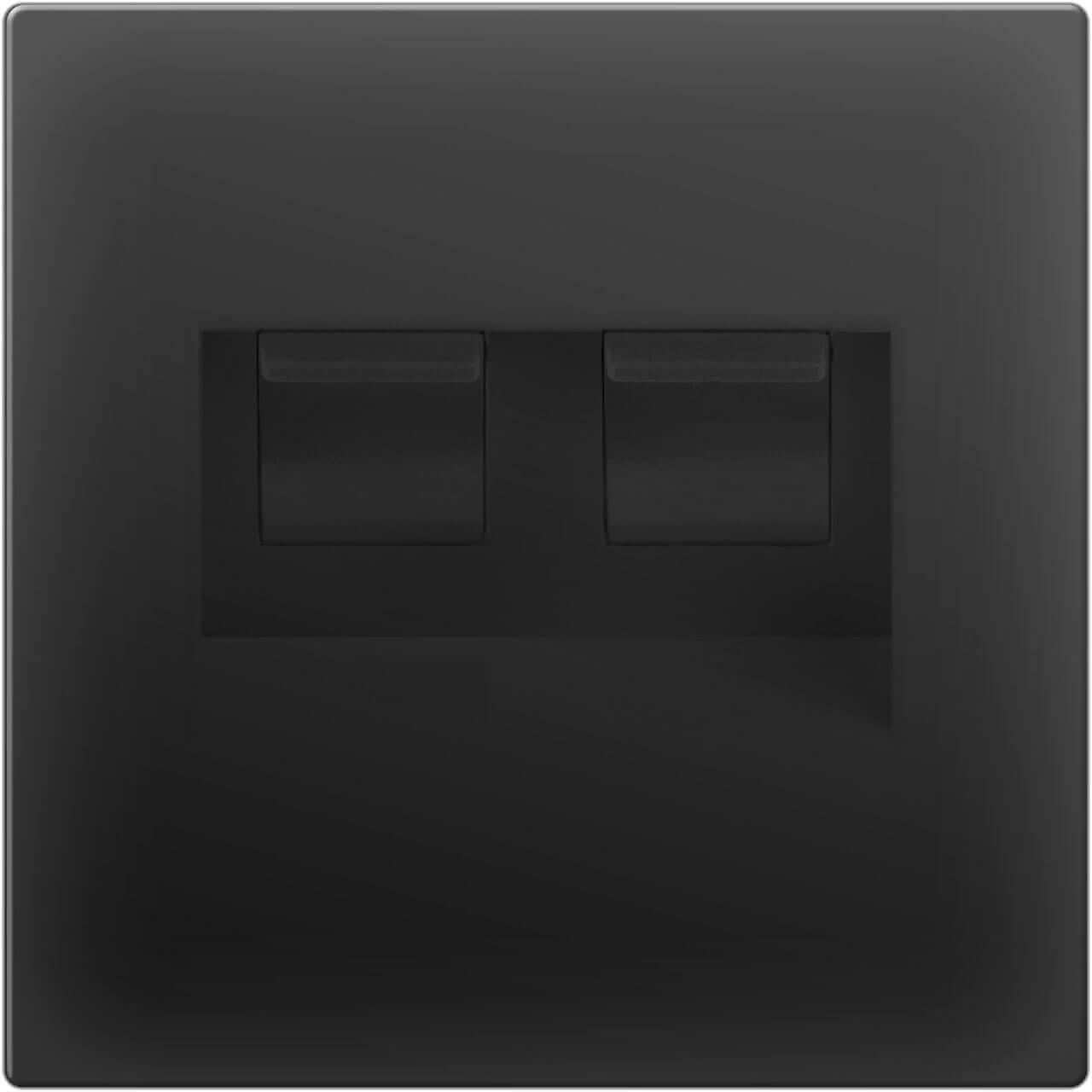 Розетка Werkel двойная Ethernet RJ-45 черный матовый WL08-RJ45+RJ45 4690389073564