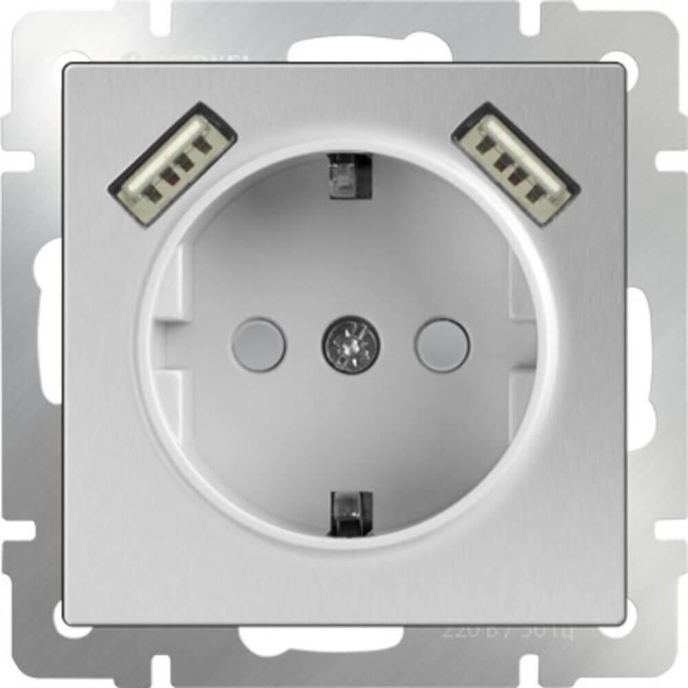 Розетка Werkel с заземлением, шторками и USBх2 серебряный WL06-SKGS-USBx2-IP20 4690389073212