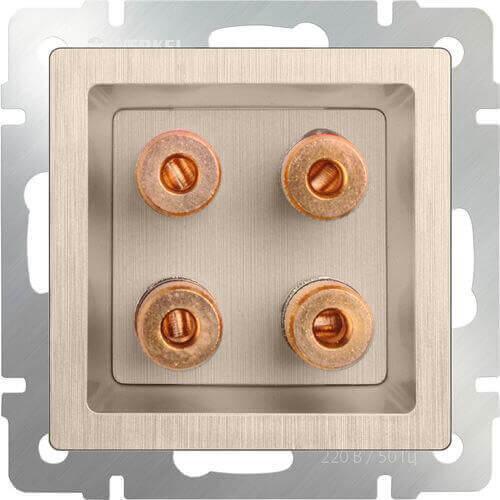 Акустическая розетка Werkel х4 шампань рифленая WL10-AUDIOx4 4690389085192