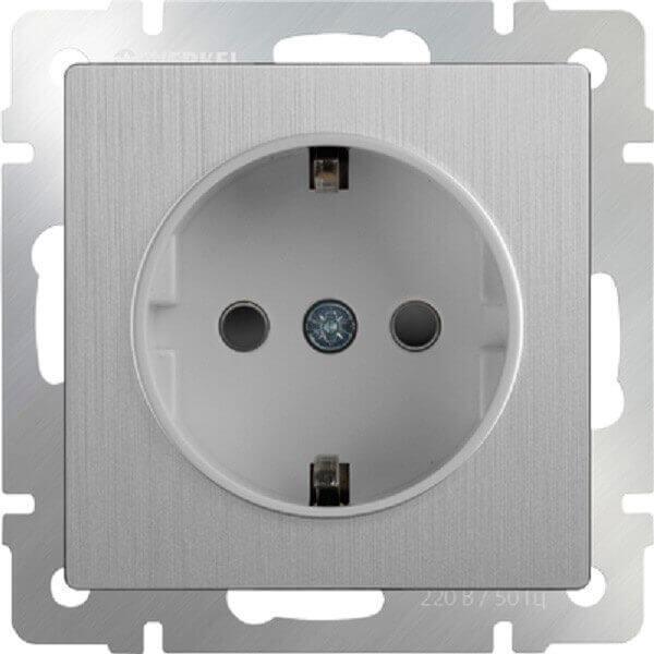 Розетка Werkel с заземлением серебряная рифленая WL09-SKG-01-IP20 4690389085079