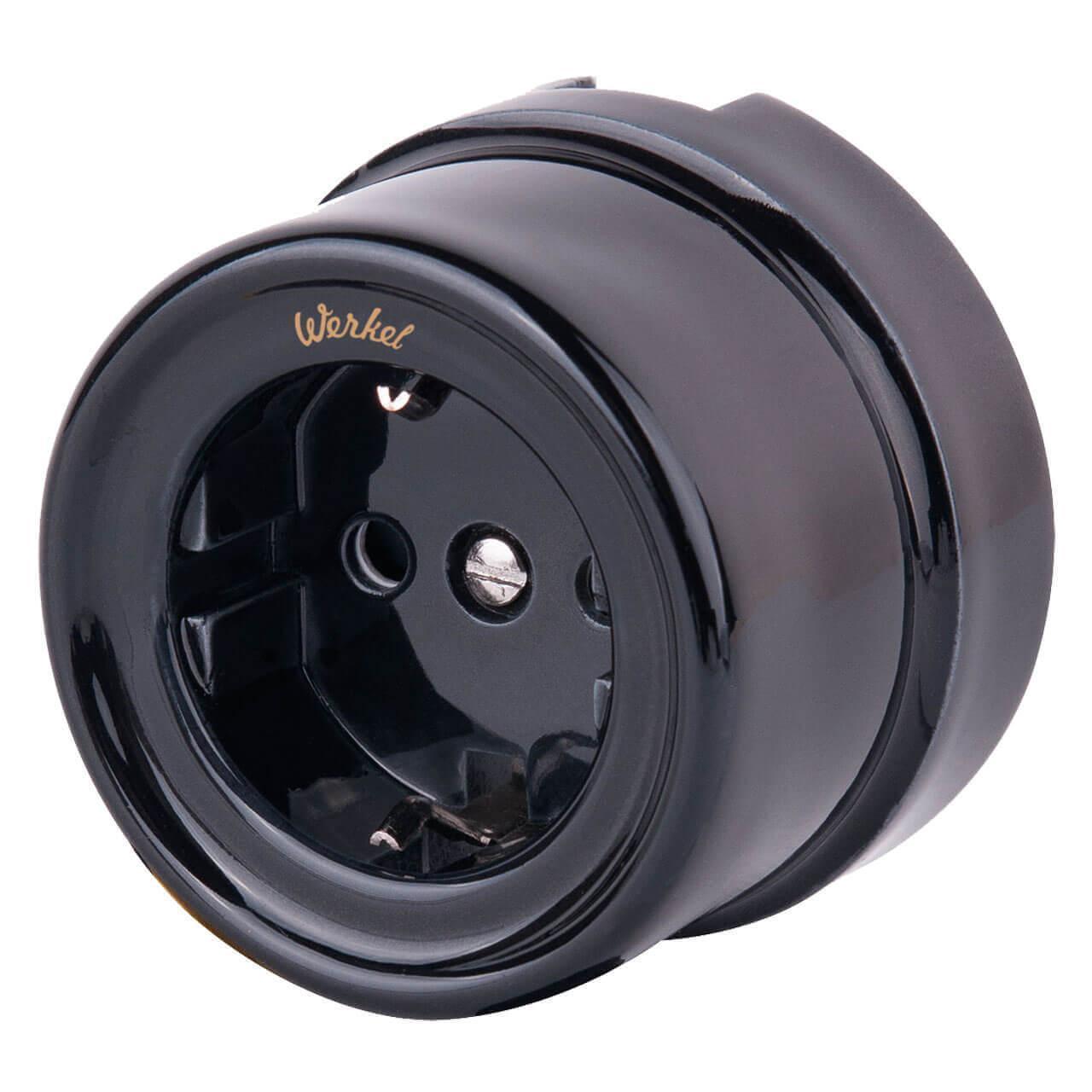 Розетка Werkel с заземлением и шторками Retro черная WL18-03-02 4690389100802