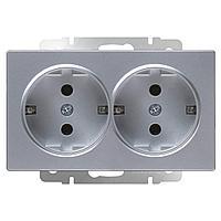 Розетка Werkel двойная с заземлением серебряный WL06-SKG-02-IP20 4690389117237