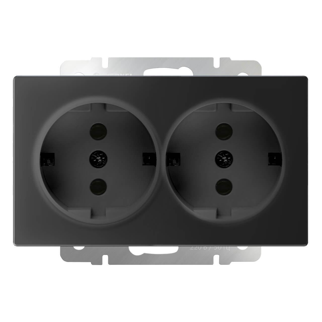 Розетка Werkel двойная с заземлением черный матовый WL08-SKG-02-IP20 4690389117244