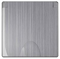 Розетка Werkel с заземлением с защитной крышкой и шторками глянцевый никель WL02-SKGSC-01-IP44 4690389119637