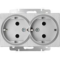 Розетка двойная Werkel серебряный рифленый WL09-SKG-02-IP20 4690389131288