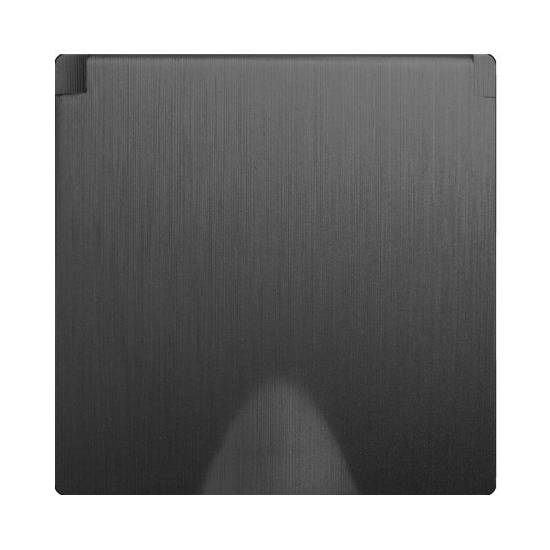 Розетка влагозащищенная с заземлением с защитной крышкой и шторками Werkel Gallant графит рифленый