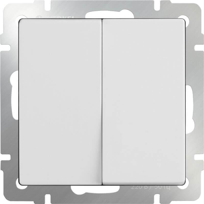Выключатель Werkel двухклавишный проходной белый WL01-SW-2G-2W 4690389045561