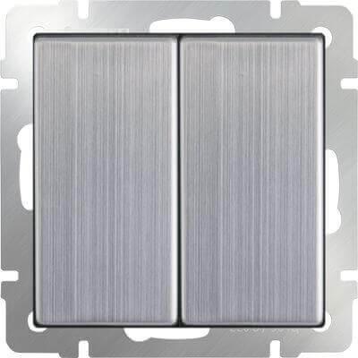 Выключатель Werkel двухклавишный проходной глянцевый никель WL02-SW-2G-2W 4690389045769