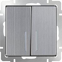 Выключатель Werkel двухклавишный проходной с подсветкой глянцевый никель WL02-SW-2G-2W-LED 4690389059223