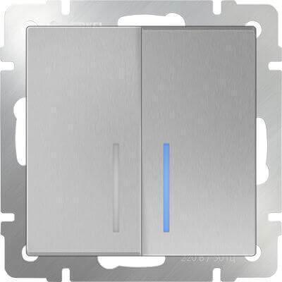 Выключатель Werkel двухклавишный проходной с подсветкой серебряный WL06-SW-2G-2W-LED 4690389053887