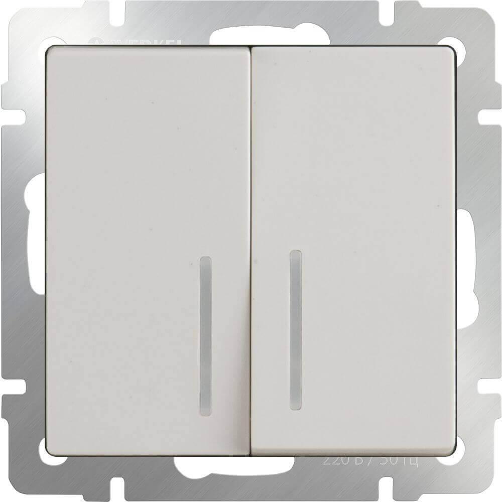 Выключатель Werkel двухклавишный проходной с подсветкой слоновая костьWL03-SW-2G-2W-LED-ivory 4690389059278
