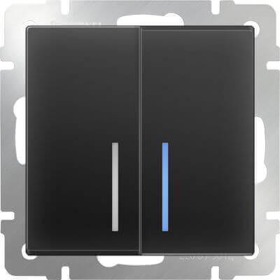 Выключатель Werkel двухклавишный проходной с подсветкой черный матовый WL08-SW-2G-2W-LED 4690389054204