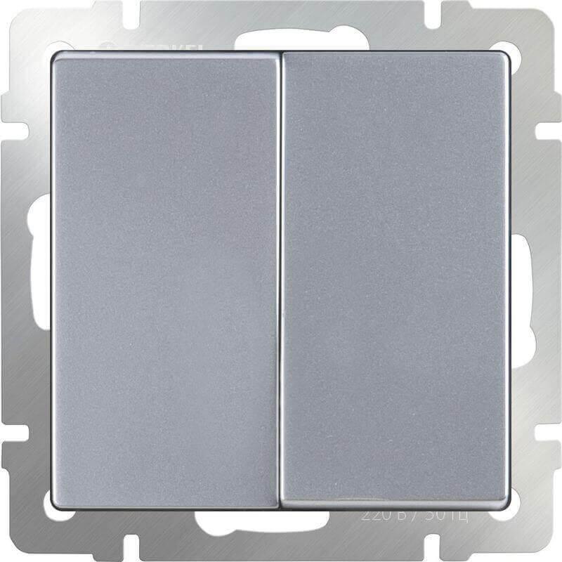 Выключатель Werkel двухклавишный проходной серебряный WL06-SW-2G-2W 4690389053849