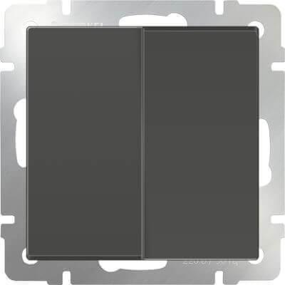 Выключатель Werkel двухклавишный проходной серо-коричневый WL07-SW-2G-2W 4690389054006