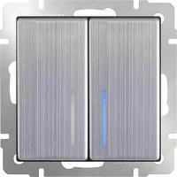 Выключатель Werkel двухклавишный с подсветкой глянцевый никель WL02-SW-2G-LED 4690389059230