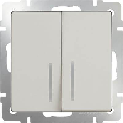 Выключатель Werkel двухклавишный с подсветкой слоновая кость WL03-SW-2G-LED-ivory 4690389059285