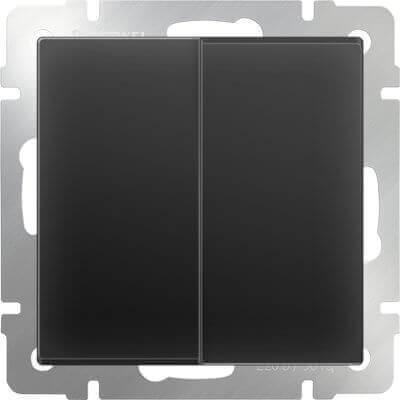 Выключатель Werkel двухклавишный черный матовый WL08-SW-2G 4690389054150
