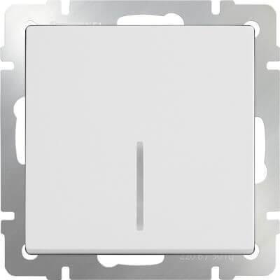 Выключатель Werkel одноклавишный проходной с подсветкой белый WL01-SW-1G-2W-LED 4690389059162