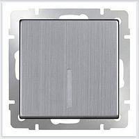Выключатель Werkel одноклавишный проходной с подсветкой глянцевый никель WL02-SW-1G-2W-LED 4690389059209