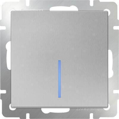 Выключатель Werkel одноклавишный проходной с подсветкой серебряный WL06-SW-1G-2W-LED 4690389053863