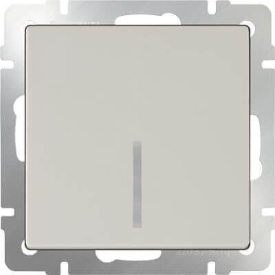 Выключатель Werkel одноклавишный проходной с подсветкой слоновая кость WL03-SW-1G-2W-LED-ivory 4690389059254