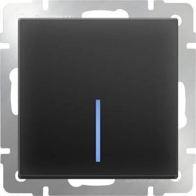 Выключатель Werkel одноклавишный проходной с подсветкой черный матовый WL08-SW-1G-2W-LED 4690389054181