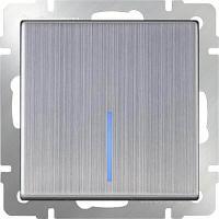 Выключатель Werkel одноклавишный с подсветкой глянцевый никель WL02-SW-1G-LED 4690389059216