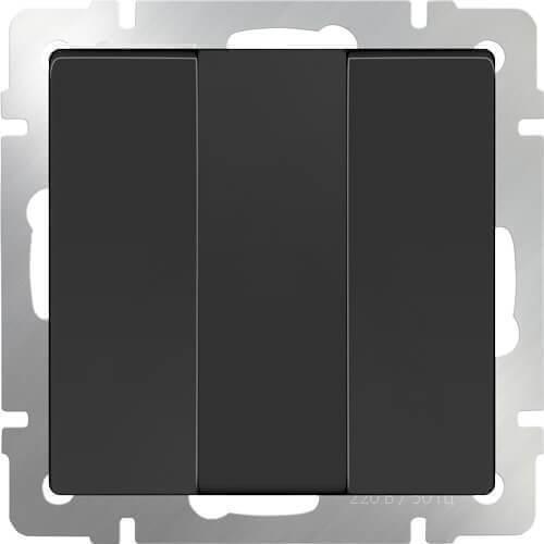 Выключатель Werkel трехклавишный черный матовый WL08-SW-3G 4690389073465