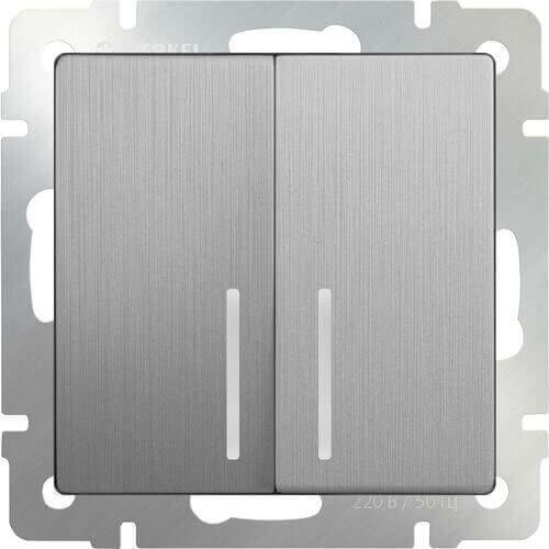 Выключатель Werkel двухклавишный проходной с подсветкой серебряный рифленый WL09-SW-2G-2W-LED 4690389085161